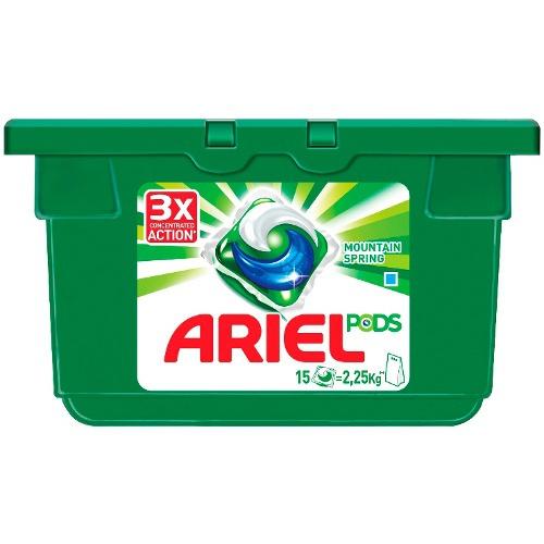 ARIEL гель-капсулы 15-28,8г Pods 3в1 Горный родник