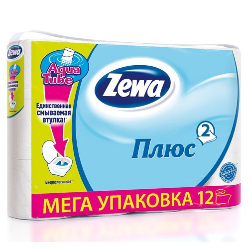 Туалетная бумага Zewa 2-х слойная 12 рулонов Белая