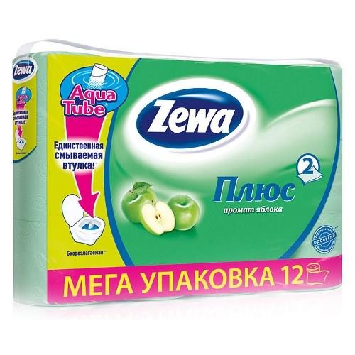 Туалетная бумага Zewa 2-х слойная 12 рулонов Яблоко