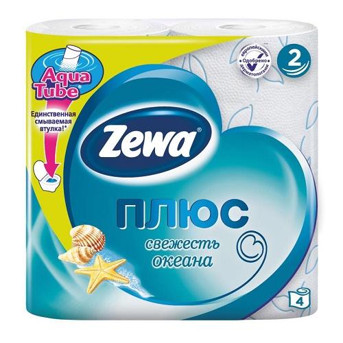 Туалетная бумага Zewa 2-х слойная 4 рулона Океан