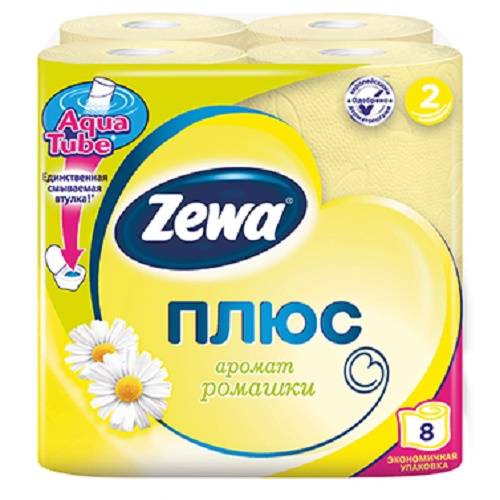 Туалетная бумага Zewa 2-х слойная 8 рулонов Ромашка