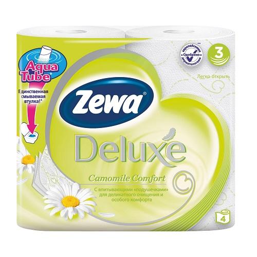 Туалетная бумага Zewa 3-х слойная 4 рулона Делюкс Ромашка