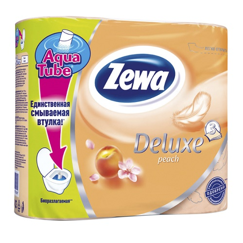 Туалетная бумага Zewa 3-х слойная 4 рулона Персик