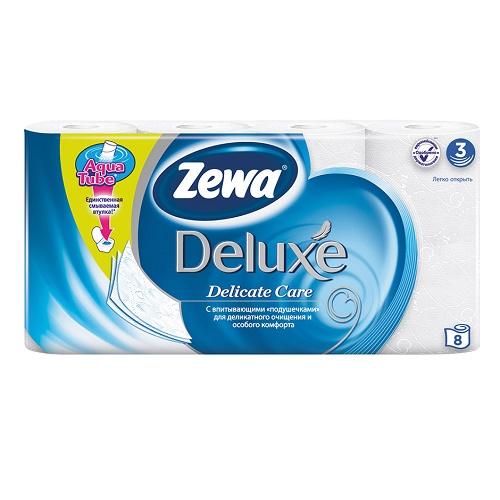 Туалетная бумага Zewa 3-х слойная 8 рулонов Делюкс Белая