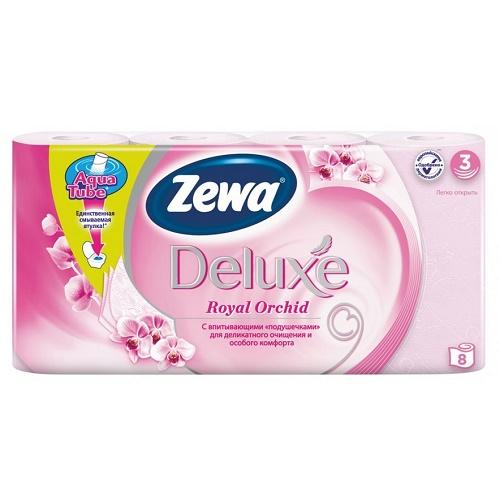 Туалетная бумага Zewa 3-х слойная 8 рулонов Делюкс Орхидея