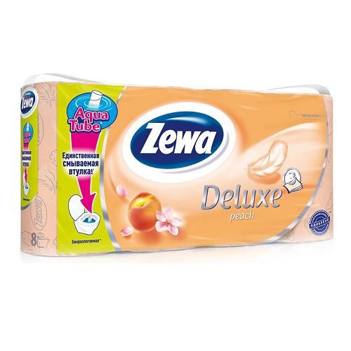 Туалетная бумага Zewa 3-х слойная 8 рулонов Делюкс Персик