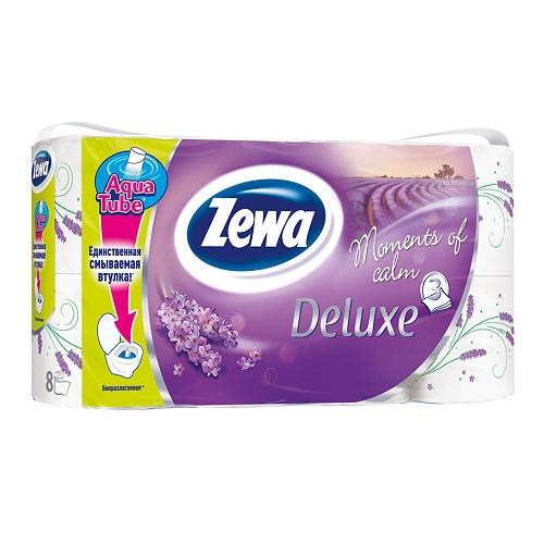 Туалетная бумага Zewa 3-х слойная 8 рулонов Делюкс сирень