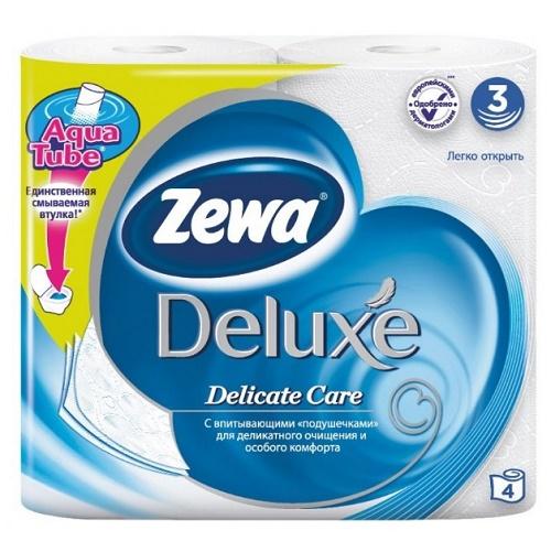 Туалетная бумага Zewa Deluxe White 4 шт