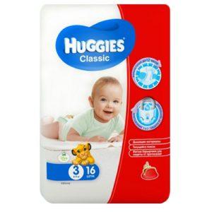 """Подгузники """"Huggies Classic Small Pack 4-9 кг (3 размер)"""" 16 шт"""