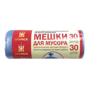 Мешки для мусора Уфа ПАК 30 л 6мкр 30 шт ЭКОНОМ синие 35 артикул МЭ3841